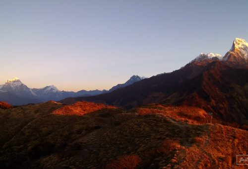 Sunrise over the Himalayas from Muldhai view point in Nepal