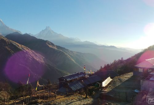 View of the mountains and the lodges of Dobato in Nepal