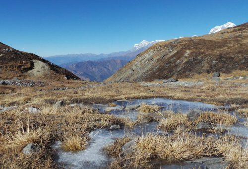 Frozen water on the way to Khayer Lake in Nepal