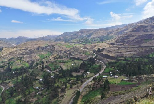 Road going through colourful fields near Riobamba