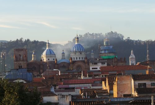 Sunrise over the cathedral in Cuenca