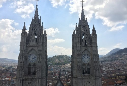 Clock towers of the Basílica del Voto Nacional in Quito