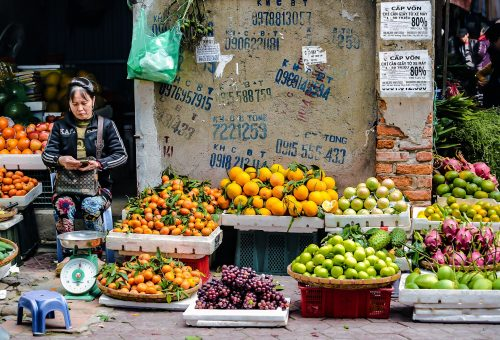 Woman selling fruits in a market in Vietnam