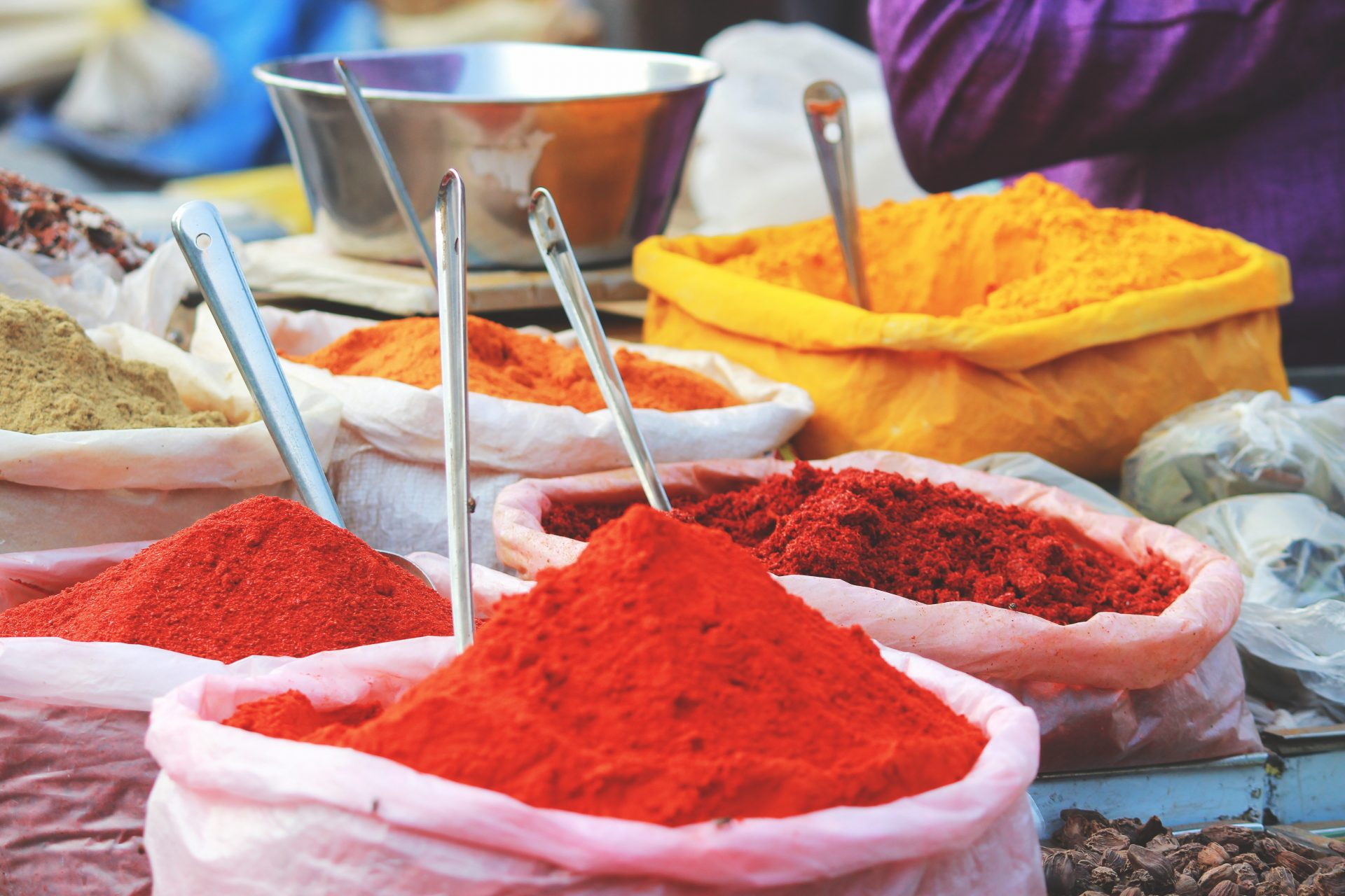 Colourful spices in India