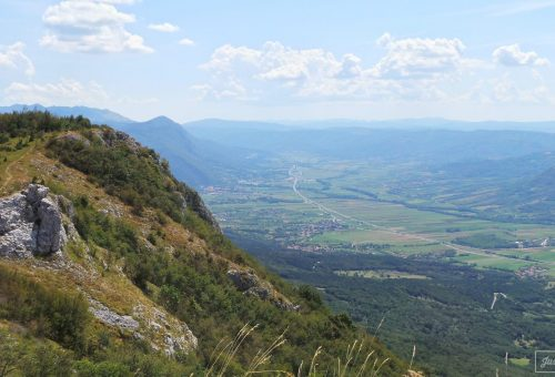 View towards Italy and Croatia from Otlica in Slovenia
