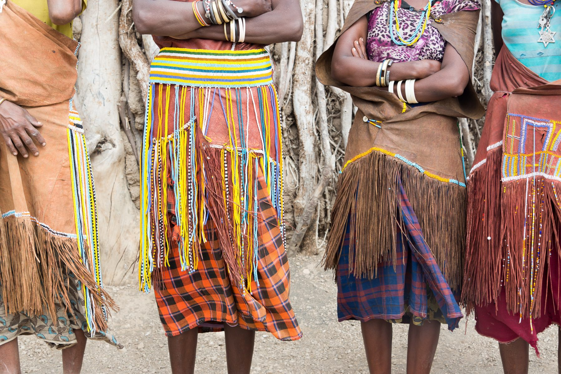 Close up view of women's colourful outfits in an African tribe