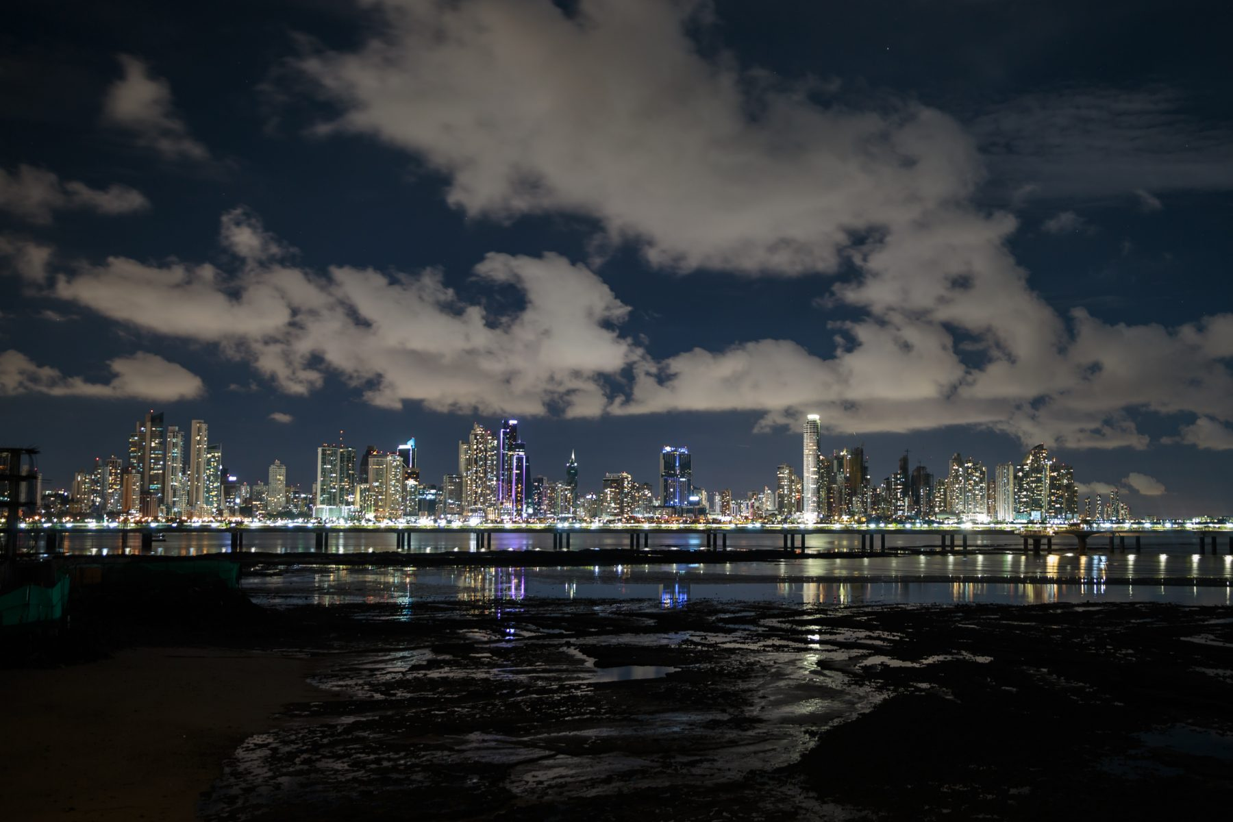 Skyline of Panama City at night, view from Casco Viejo