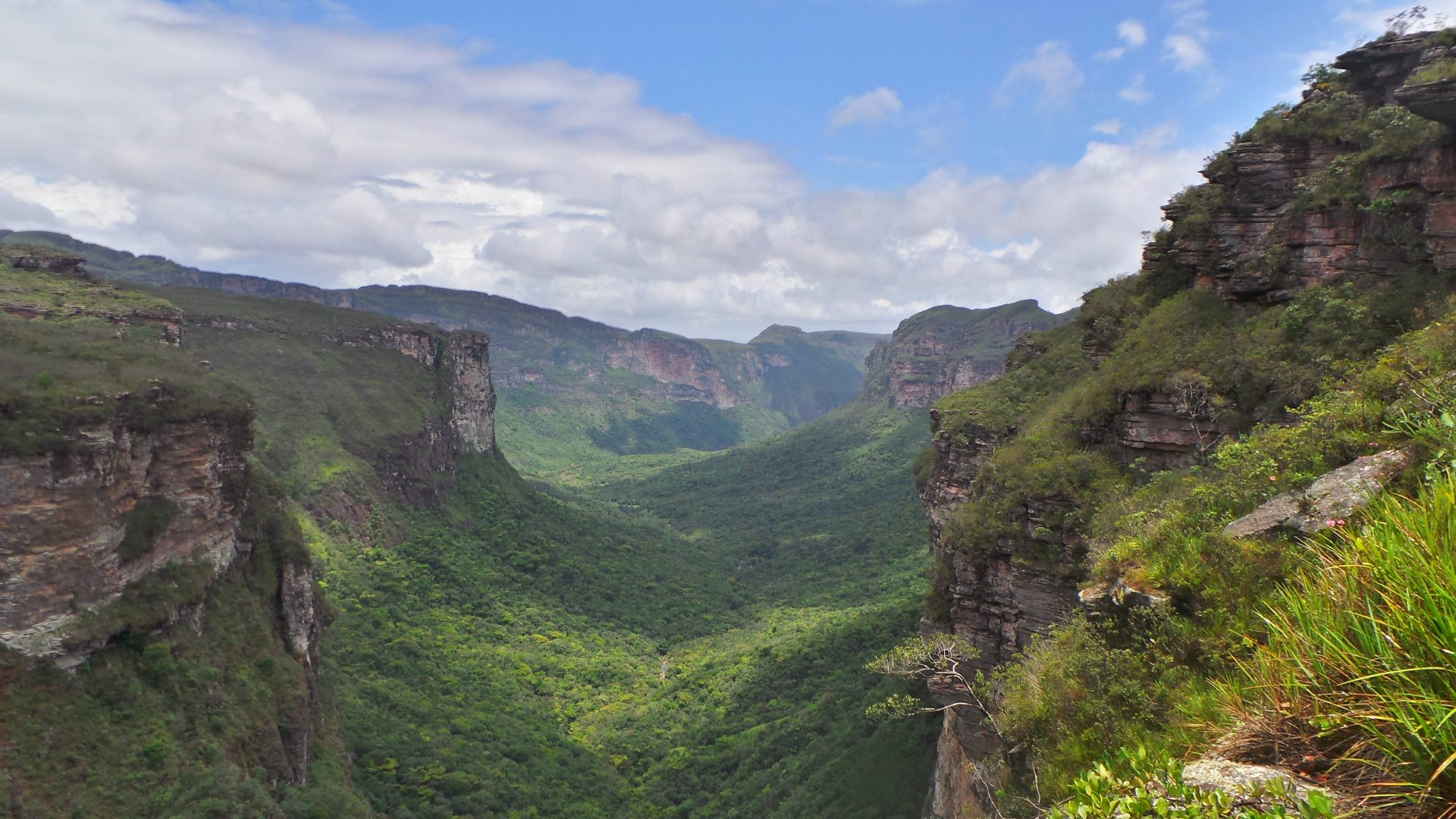 Wide view of a valley in the mountains